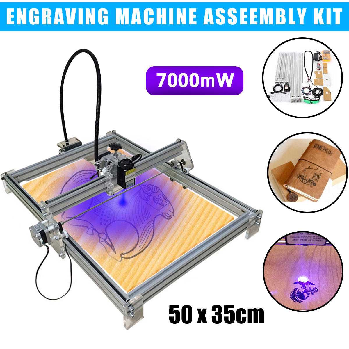 7000 МВт лазерная гравировка машина ЧПУ лазерный гравер Резак DIY логотип знак принтер машина комплект часть 35x50 см диапазон гравировки