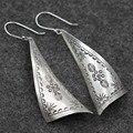 Стерлингового серебра 925 ретро печать сектор оригинальный дизайн чиангмай earbob импортированы из таиланда