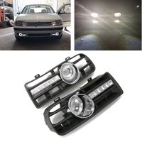 New 1 Pair Vehicle Car Front Lower Side Bumper Grille With LED Fog Light & DRL Light White/Yellow For Volkswagen GOLF MK4