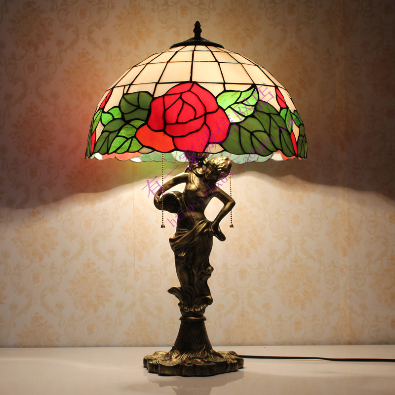 16inch Fashion Tiffany Table Lamp Colorful Glass Red Rose Bedroom Bedside  Living Room Lights Decoration Lamps