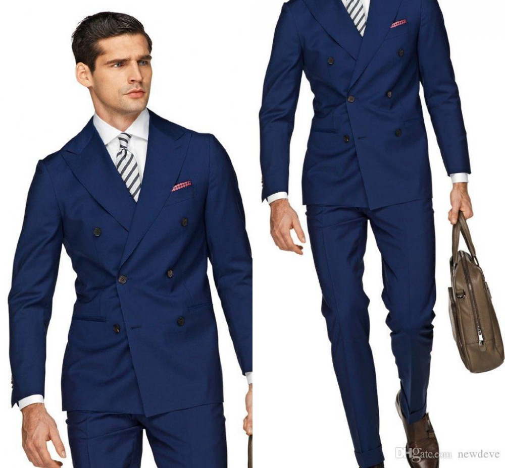 Double Ted Suits Custom Homme Fashion Men Business Office Terno Slim Fit Tuxedos Jacket Pant Tie Handkerchiefs Bule In From S Clothing