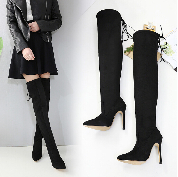 DiJiGirls Luxury Brand Socks Boots Sexy Suede Thigh High Boots Women Over The Knee Boots Ladies Winter Shoes Female Botas 40 2017 winter cow suede slim boots sexy over the knee high women snow boots women s fashion winter thigh high boots shoes woman