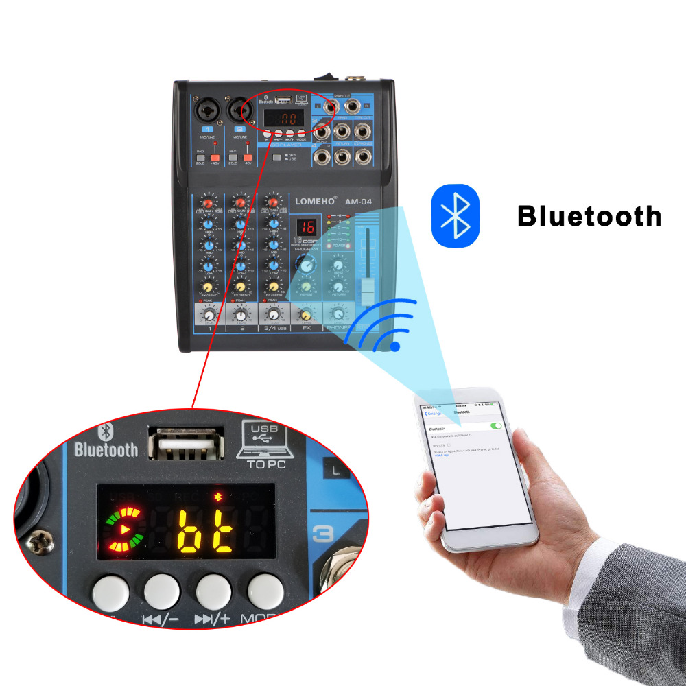 LOMOEHO AM-04 2 Mono + 1 Stereo 4 Channels Bluetooth USB 48V Phantom Professional  DJ Audio Mixer