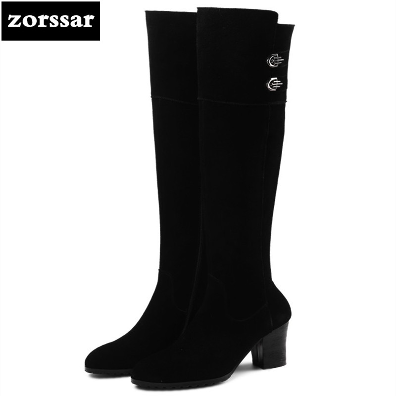 {Zorssar} High Quality Knee High Boots Winter Women Over the knee boots Suede Leather High heels boots Warm Fur Women Long Boots zorssar 2019 new winter fur female snow boots fashion knee high boots suede leather women over the knee boots high heels