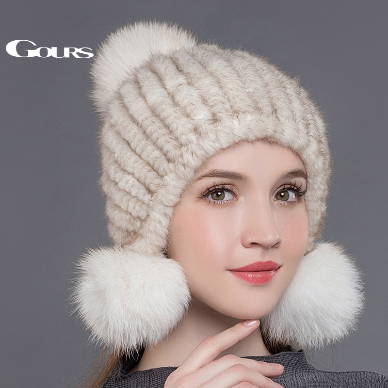 Gours Women's Fur Hats Knitted Real Mink Fur Pom Poms Beanies Fashion Thick Warm In Winter Caps with 3 Fox Fur Balls New Arrival kids real fox fur pom poms hats child winter knitted beanies big pompom hats boys girls child warm caps good quality 1pc h029