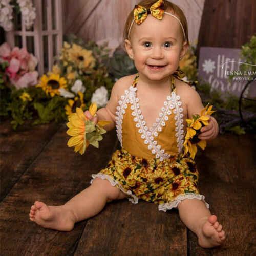 2019 брендовый летний Кружевной ромпер в стиле бохо с открытой спиной и цветочным рисунком для маленьких девочек, новый кружевной комбинезон с подсолнухами, одежда для малышей от 0 до 24 месяцев