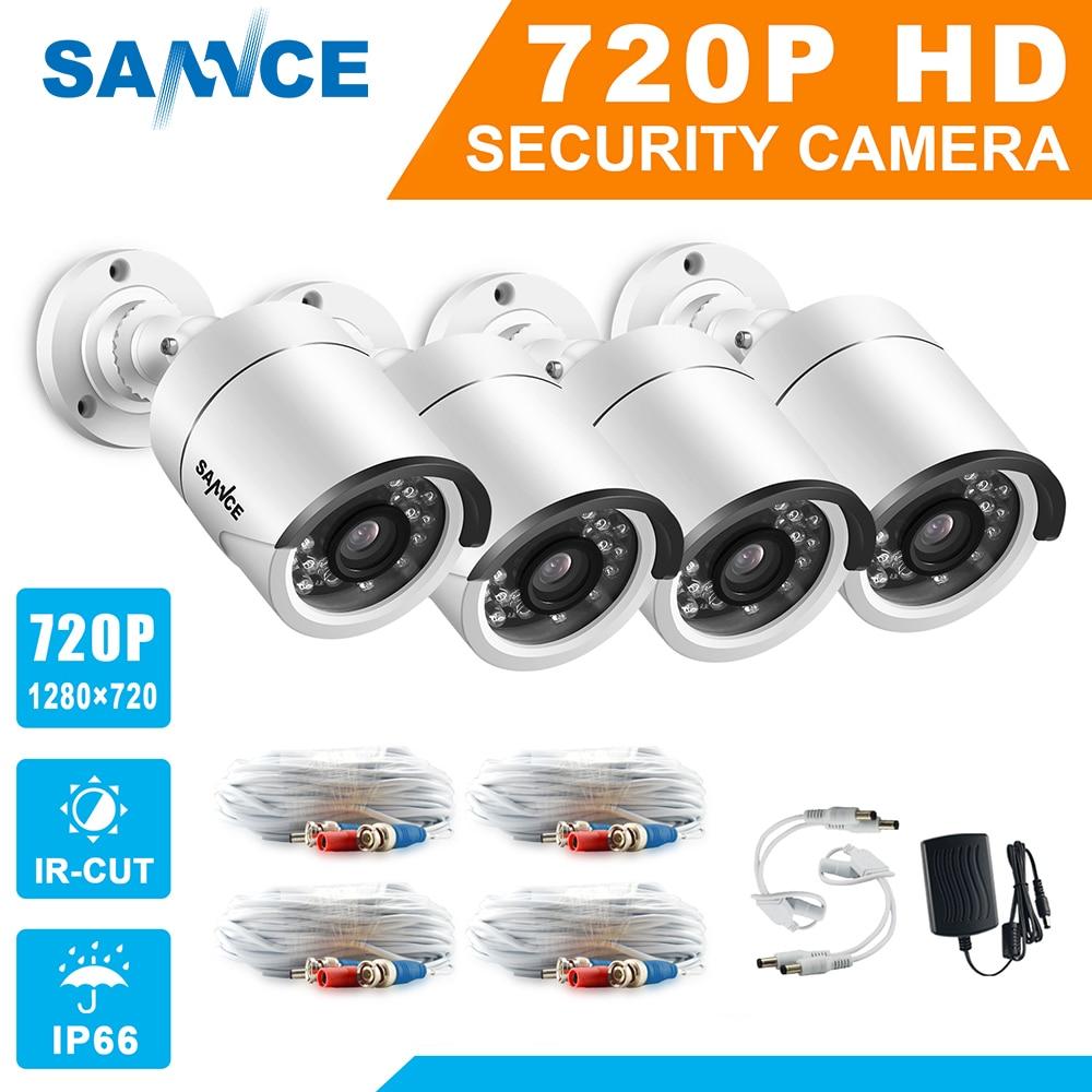 SANNCE AHD 720P 4PCS 1200TVL Bullet CCTV Camera Suite 1.0MP Waterproof IR-Cut Night Vision Camera For Surveillance System Kit BE