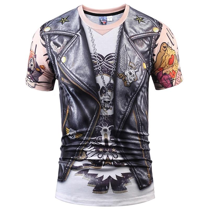 Giubbotto finto Tatuaggio Uomini T-Shirt 3D T Shirt Teschio Breve manicotto Hip Hop Fashion Tee Shirt Homme Slim Fit Halloween Cosplay t-shirt