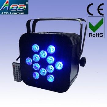Оптовая продажа 12*5в1 rgbwa 5 цветов Пульт дистанционного управления на батарейках беспроводный светодиодный сценический светильник плоский п...