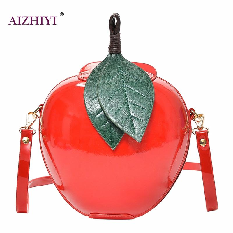 Fashion Apple Shape Bags PU Leather Women Crossbody Bags Cute Funny Mini Messenger Bag Women Small Handbags Female Shoulder Bags 2017 new female genuine leather handbags first layer of cowhide fashion simple women shoulder messenger bags bucket bags