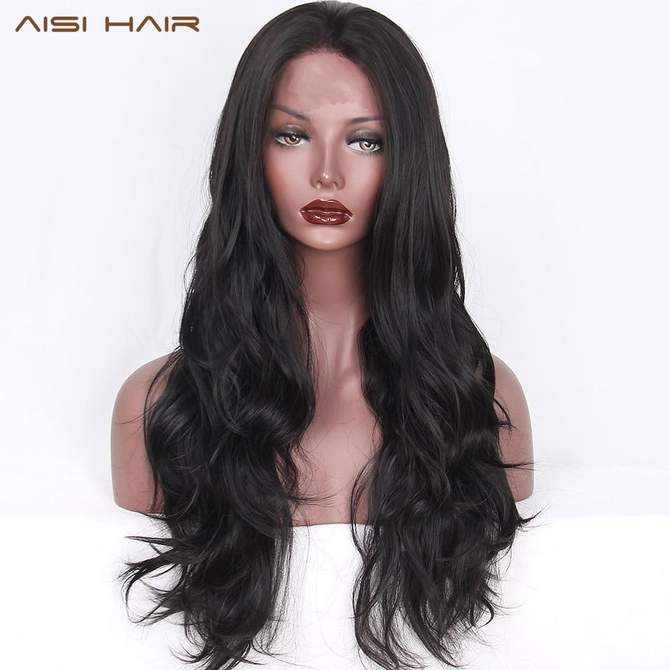 Image 2 - AISI HAIR  Black Long Wavy Wig Synthetic Lace Front Wigs for Black Women Natural Part Heat Resistant Fiber Wigombre wig heat resistantombre womenombre color -
