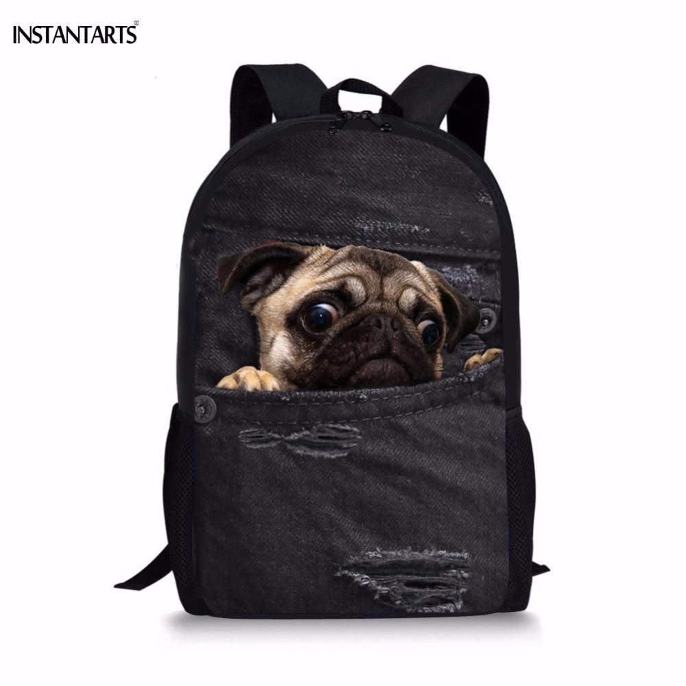 INSTANTARTS Kids Shool Bags For Teenagers Boys 3D Cute Animal Demin Dog Cat Print Book Shoulder Bags  Casual Children Backpacks