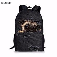 44f9db093915 INSTANTARTS дети общага сумки для подростков мальчиков 3D милые животные  Демин кота собаки печати книга сумки