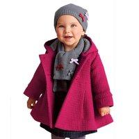Toddler Baby Girl Warm Fleece Pea Coat Infants Baby Kids Girl Snow Jacket Suit Clothes Red