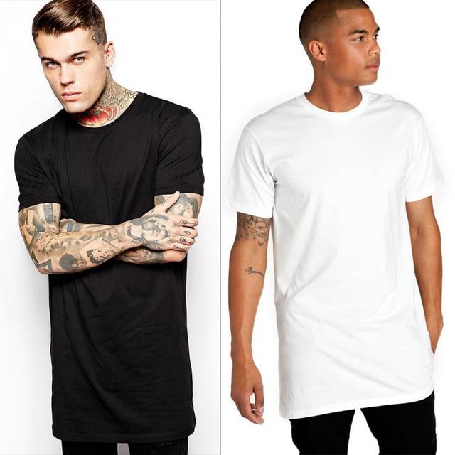 b92bbda67b83 Spring Summer Men's Short Sleeve T Shirts Brand Clothing Long Length Cotton  T-shirt Man