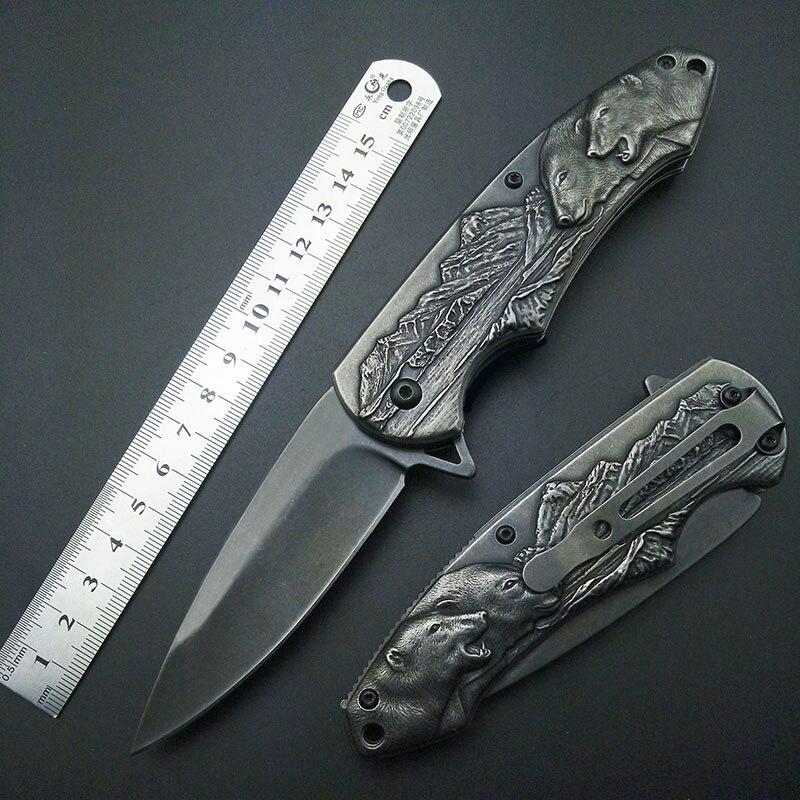 Stonewash Eisbär Falten Faltendes 7Cr13 Blatt-messer Mark Outdoor werkzeuge Top Qualität Kunstwerk Carving messer