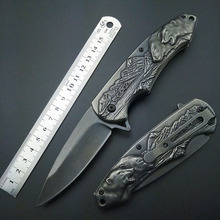 Фотография Stonewash Polar Bear Fold Knife Tactical Folding 7Cr13 Blade Knives Mark Outdoor tools Top Quality Artwork Carving knifes