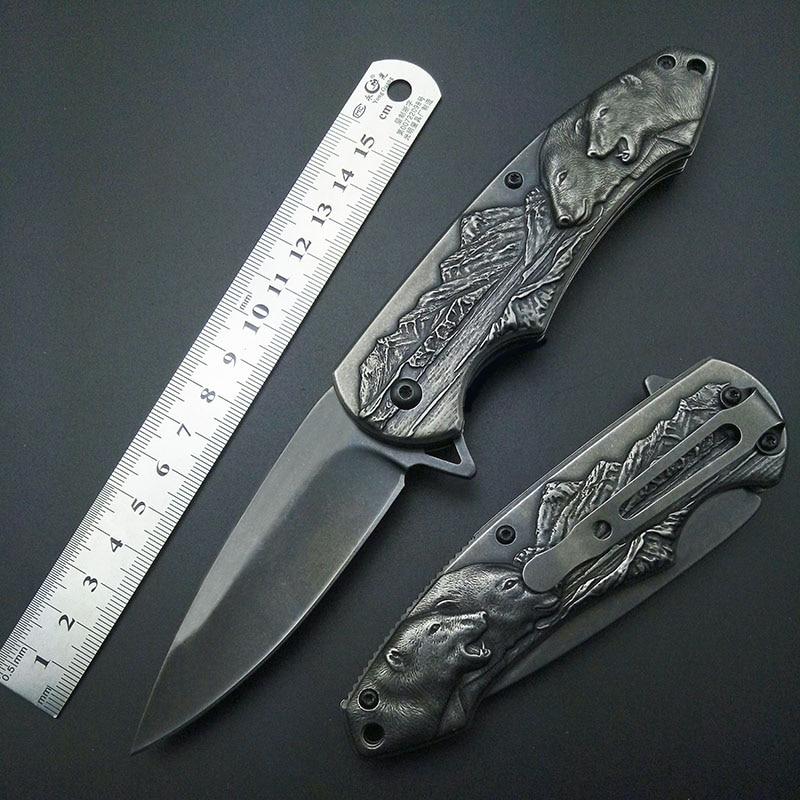 Stonewash Polar Bear Fold Knife Tactical Folding 7Cr13 Blade Knives Mark Outdoor tools Top Quality Artwork Carving knifes