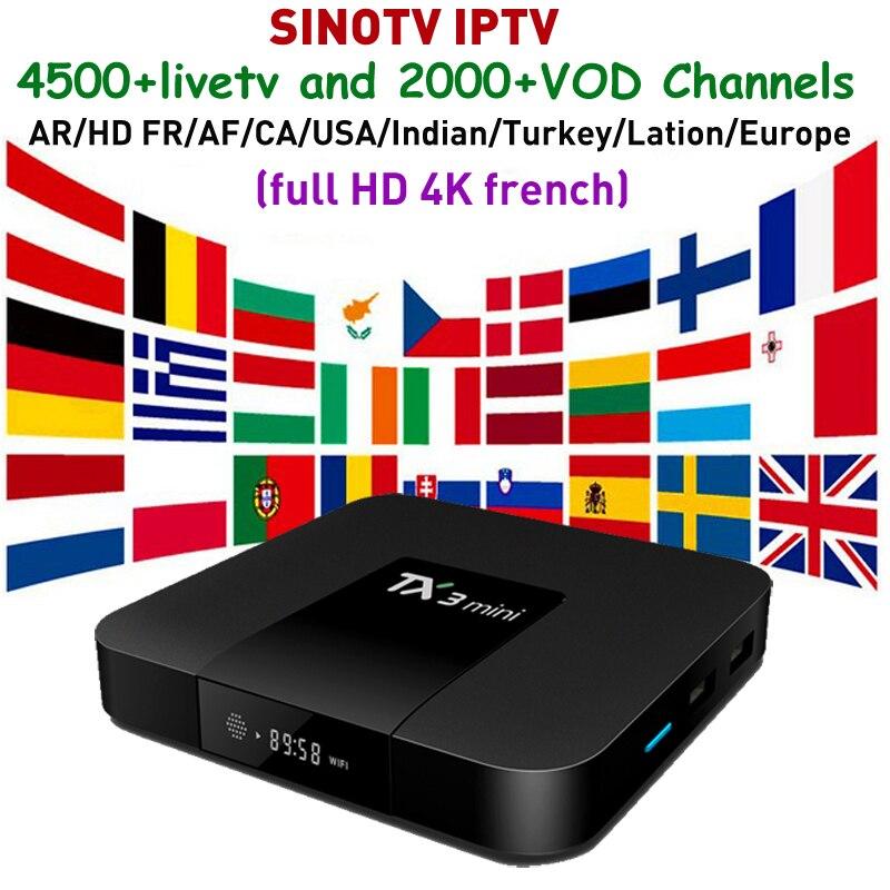 Full Europe IPTV Arabic tvbox TX3 mini 2G 16G With 1 year SINOTV code for Canada