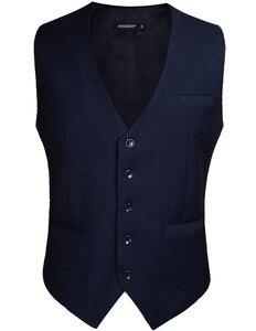 Image 2 - Мужской свадебный деловой костюм с жилетом, приталенный Повседневный смокинг, модный однотонный жилет