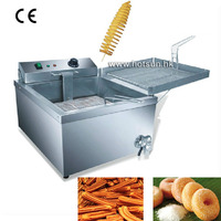 Commercial 12L Electric Donut Churros French Fries Spiral Potato Deep Fryer With Thermostat And Tap