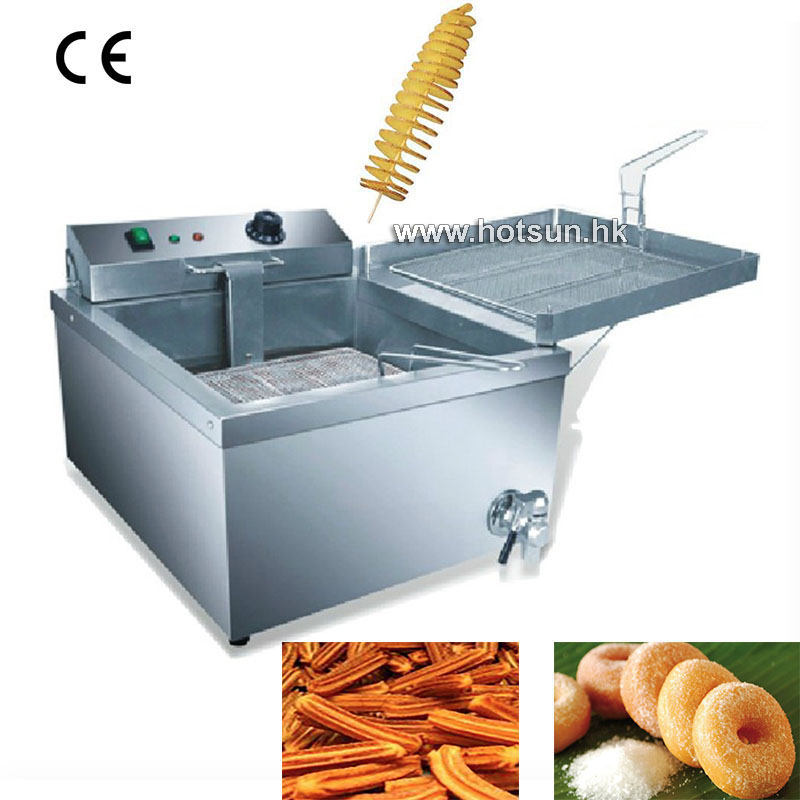 Commercial 12L Electric Donut Churros French Fries Spiral Potato Deep Fryer with Thermostat and Tap  220v 12l electric deep fryer for spiral potato twister potato tornado potato fry potato churros chicken