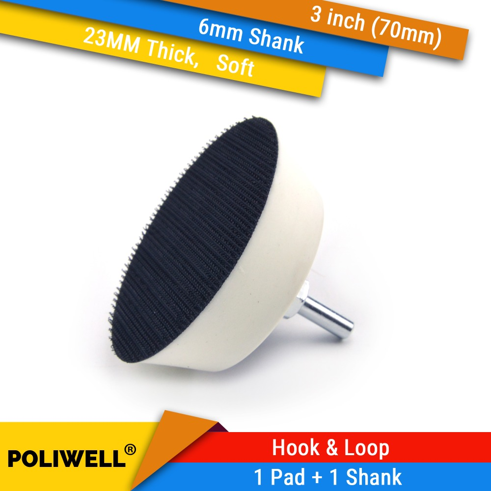 3 Inch 70mm Soft Foam Back-up Sanding Pad + 6mm Shank Self-adhesive Polishing Disc Suction Cup Rotary Power Tools Accessories