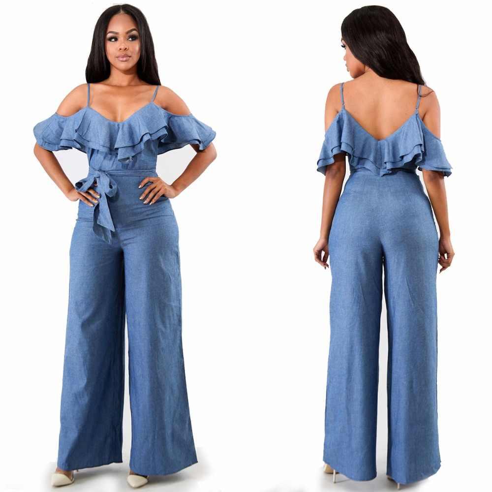 Комбинезоны для Для женщин 2019 пикантные весенние оборки, открытые плечи ползунки спинки Для женщин Летние комбинезоны синие джинсы комбинезон YQ097
