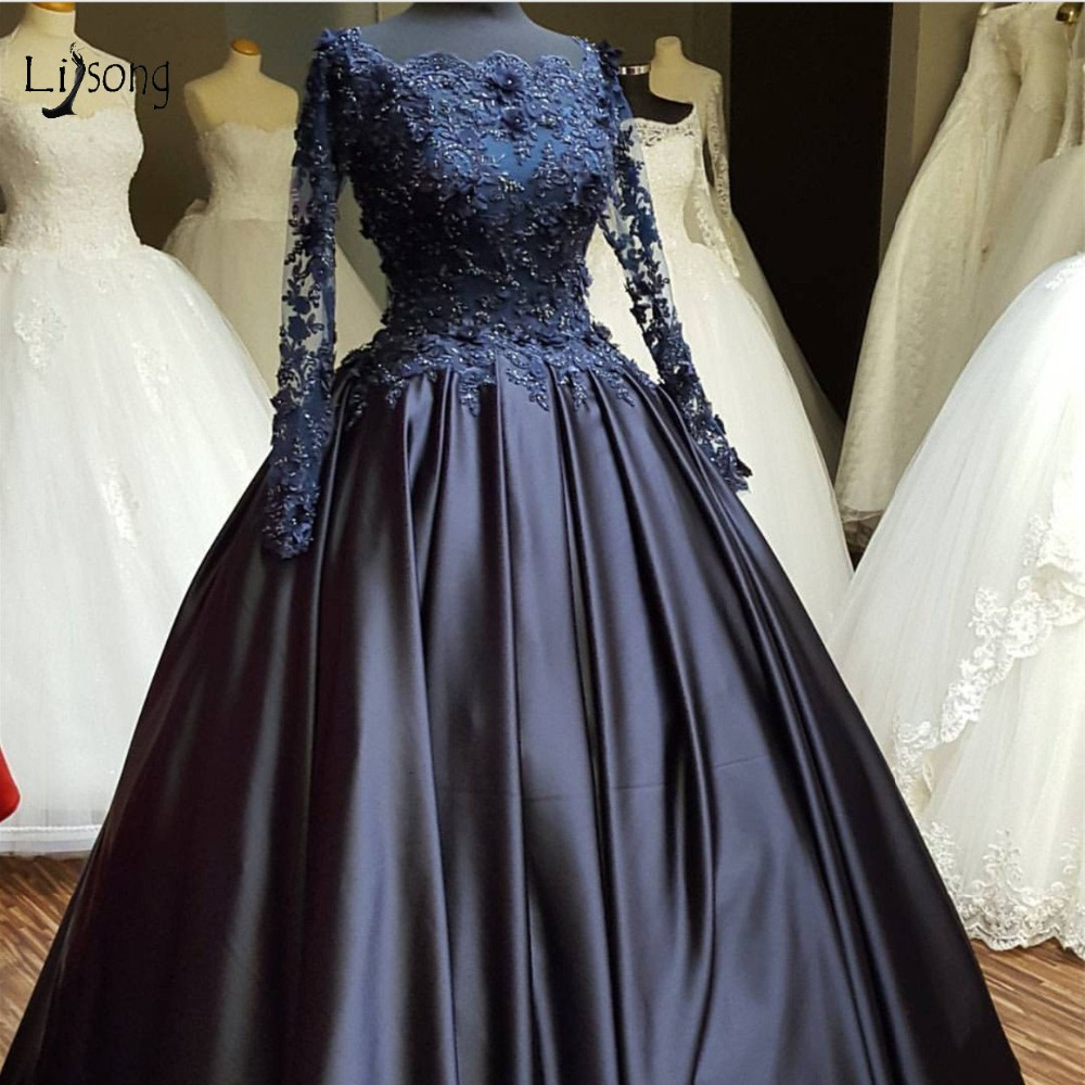 Vintage Navy Blue Lace   Evening     Dresses   With Illusion Full Sleeves Appliques Beads Ball Gowns Elegant Prom Gown Abendkleider 2018