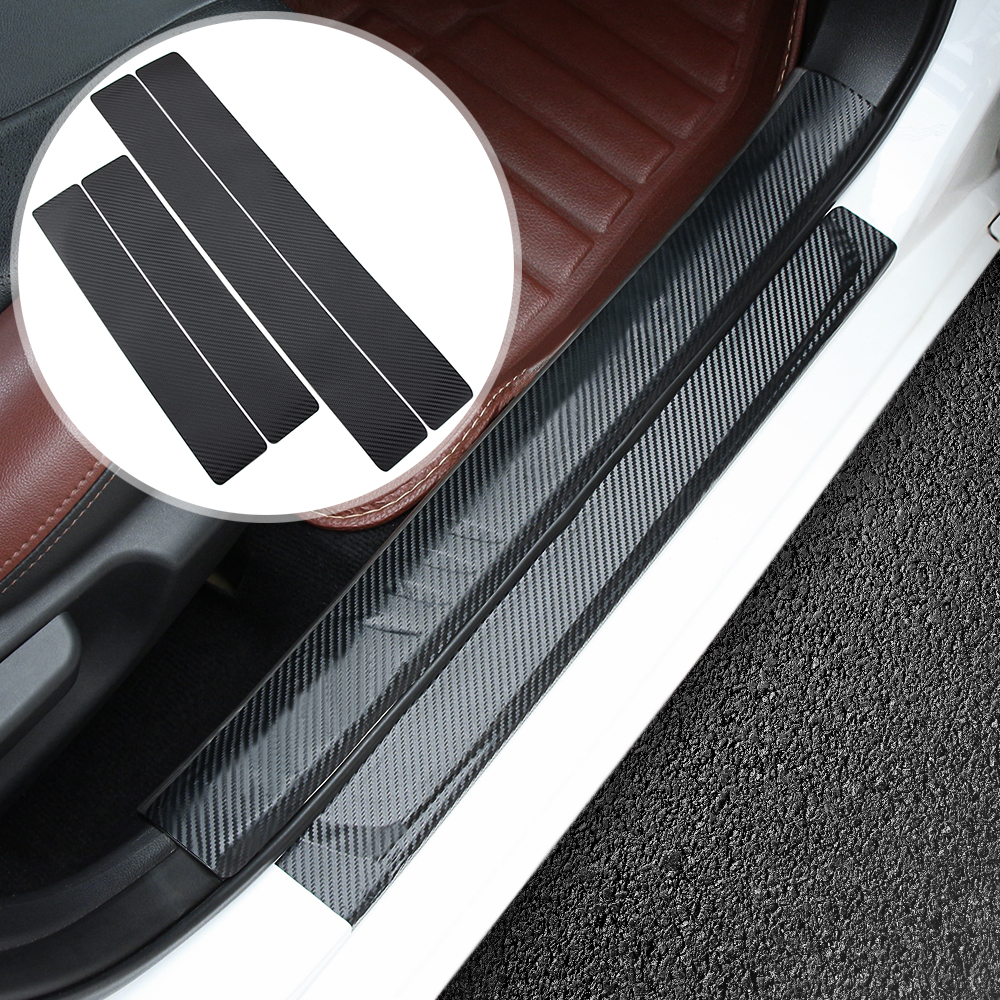 for Nissan Qashqai 4Pcs Carbon Fiber Anti Scratch Car Door Sill White Reflective Sticker Scuff Plate Cover Panel Step Protector
