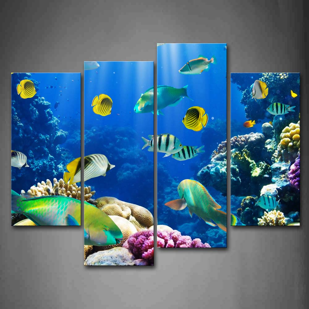 Framed Wall Art Pictures Bottom Sea Fishs Canvas Print Animal Modern Poster With Wooden Frame For Home Living Room DecorFramed Wall Art Pictures Bottom Sea Fishs Canvas Print Animal Modern Poster With Wooden Frame For Home Living Room Decor