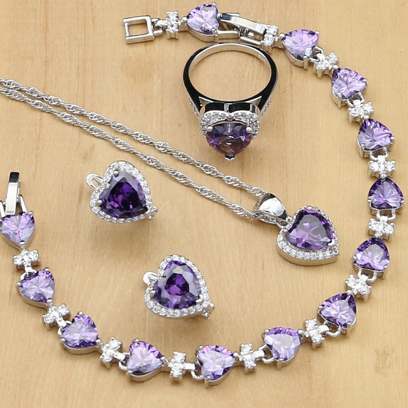 925 Silver Jewelry Sets Purple Cubic Zirconia White Crystal For Women Natural  Earrings/Pendant/Rings/Bracelet/Necklace Set