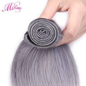 Image 3 - Ms Love Pre Colored Silver Grey Bundles With Closure Straight Remy Brazilian Human Hair Bundles With Closure