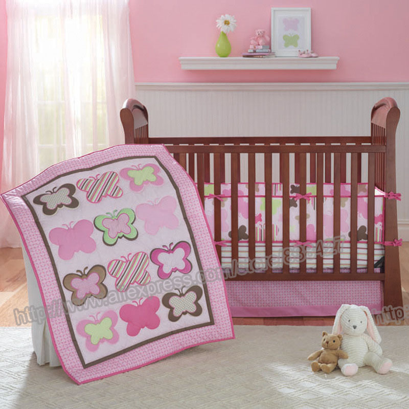 Baby Bedding Systematic Ups Free Pink Butterfly 7 Pcs Stars Baby Bed Linen Set Comforter Quilt Sheet Bumper Included