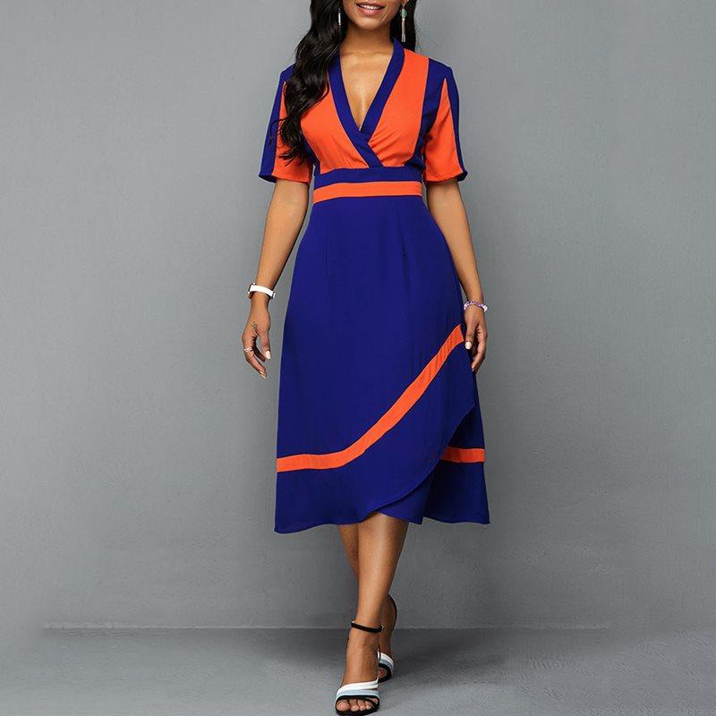 Vintage Summer Office Ladies Plus Size Elegant Party Orange Women Dresses  African Black Girls Female Fashion Chic Retro Dress