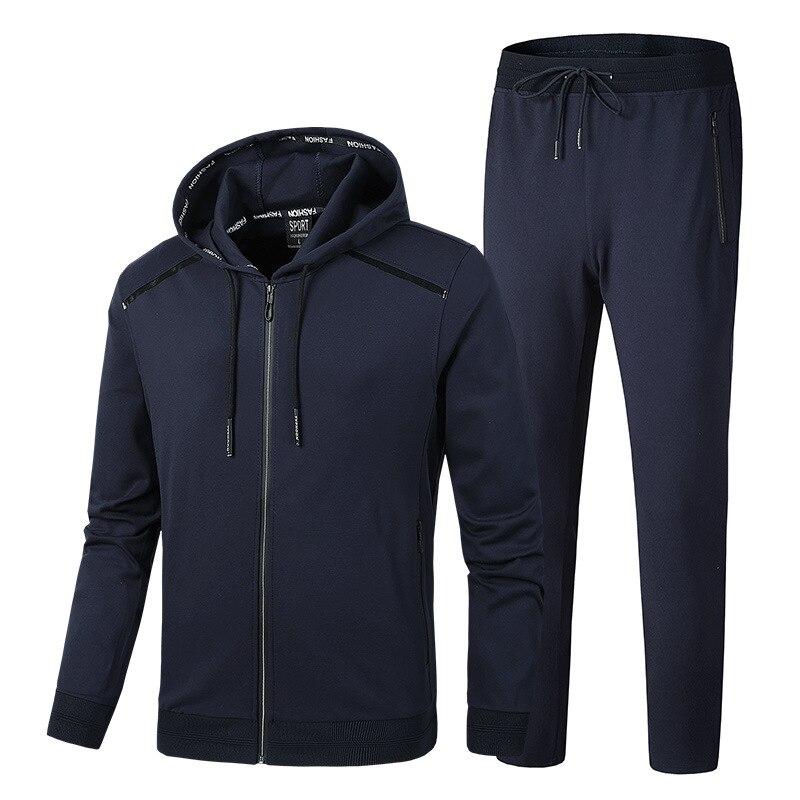 Men s Warm Sport Suits Hoodies Sets Jogging Suits Big Size Men Gym Sportswear Fleece Fabric