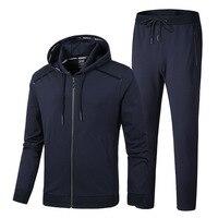 Men's Warm Sport Suits Hoodies Sets Jogging Suits Big Size Men Gym Sportswear Fleece Fabric Running Jogging Suit Male Tracksuit