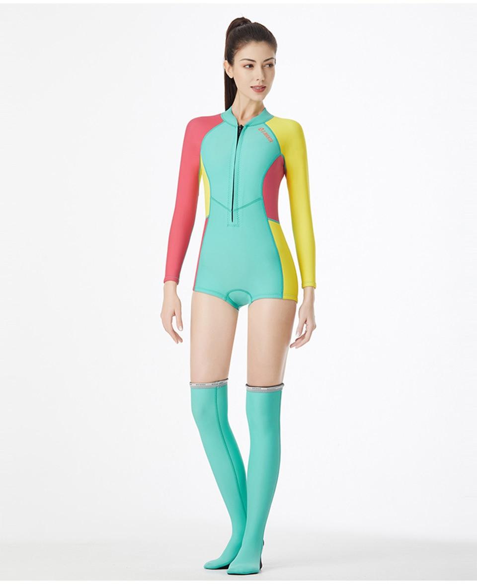 1,5 мм неопрен бикини гидрокостюм УФ Защита с длинным рукавом Дайвинг костюм купальный костюм серфинг подводное плавание чулки купальники