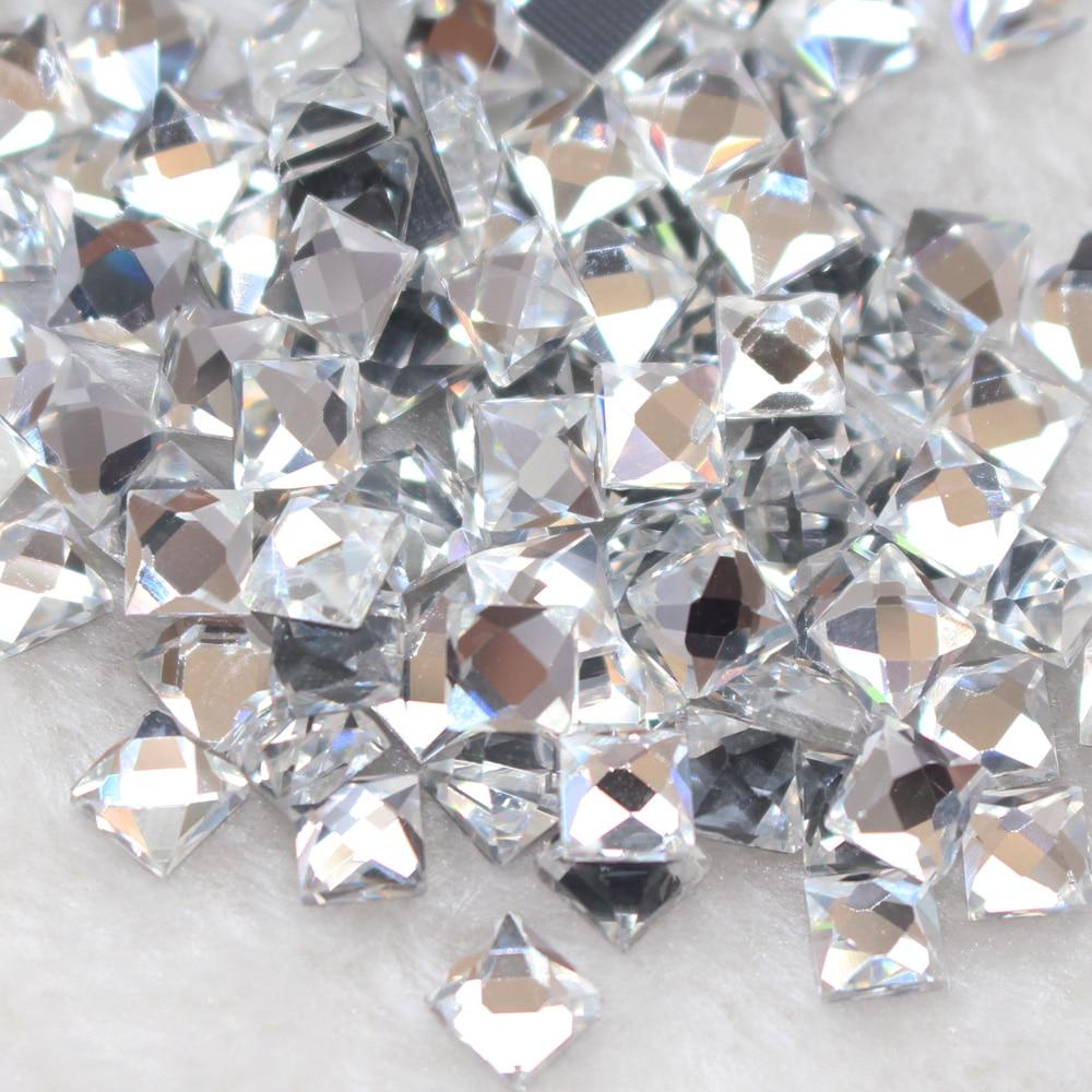 Hot Sale 6mm8mm10mm Clear Crystal 130pcs/lot Square Shape Fix Rhinestones Flatback Strass Trim for Dresses Bags