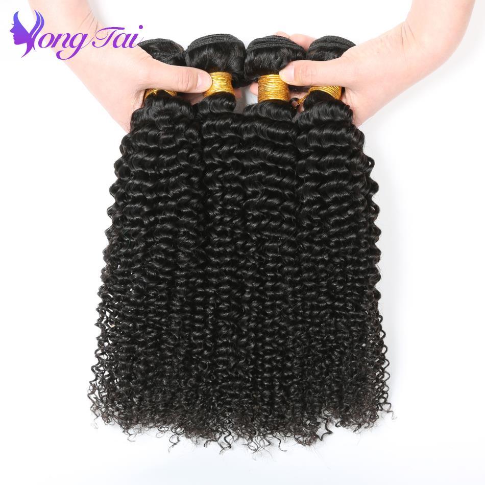 Yongtai волос 4 шт. индийской странный вьющихся волос, плетение не Реми Человеческие волосы Связки 8-30 дюймов натуральный черный волос утка бесп...