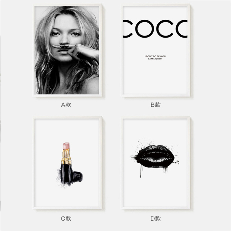 Famous Fashion Star Supermodel Cuadros Kate Moss Sexy Lips Art Print Wall Canvas Painting Best Murals Sofa Background Home Decor