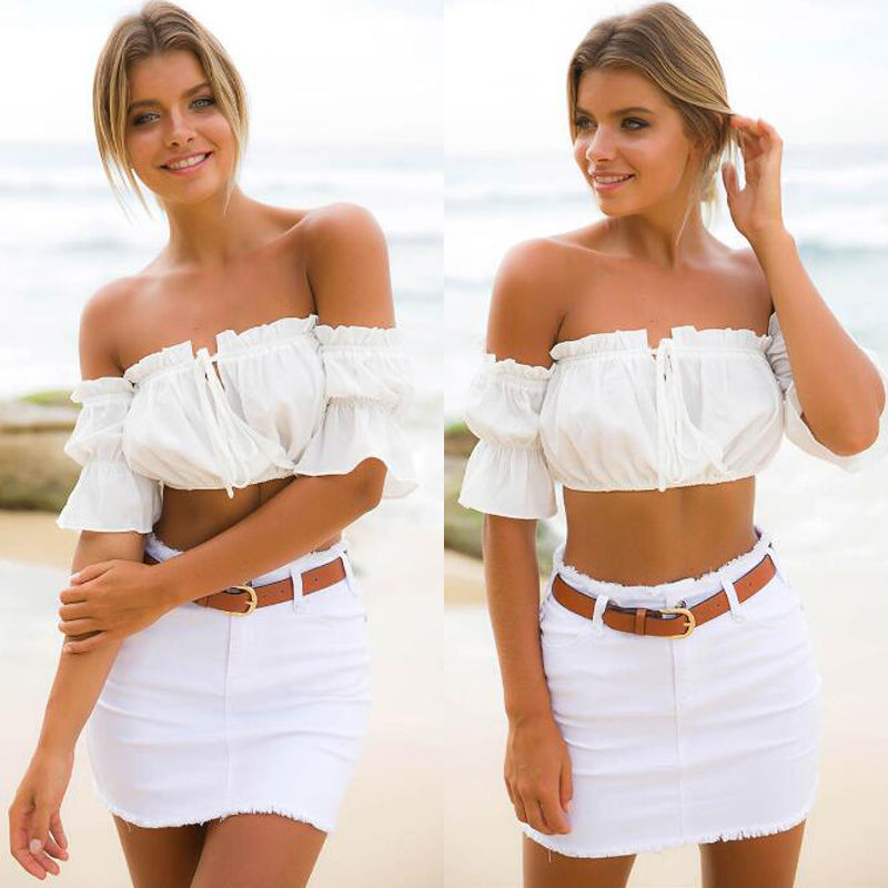 6704c6e390092 crop tops women 2018 summer lantern sleeve sexy strapless beach tops plus  size red black white ruched crop top top croptop