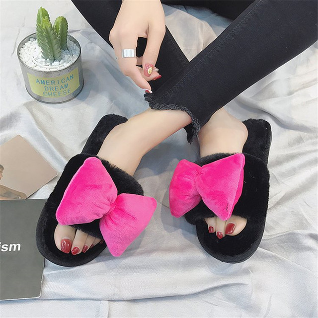 COOTELILI Fashion Women Home Slippers Faux Fur Warm Shoes Woman Slip on  Flats Bowtie Female Winter 3897f7a82ffd