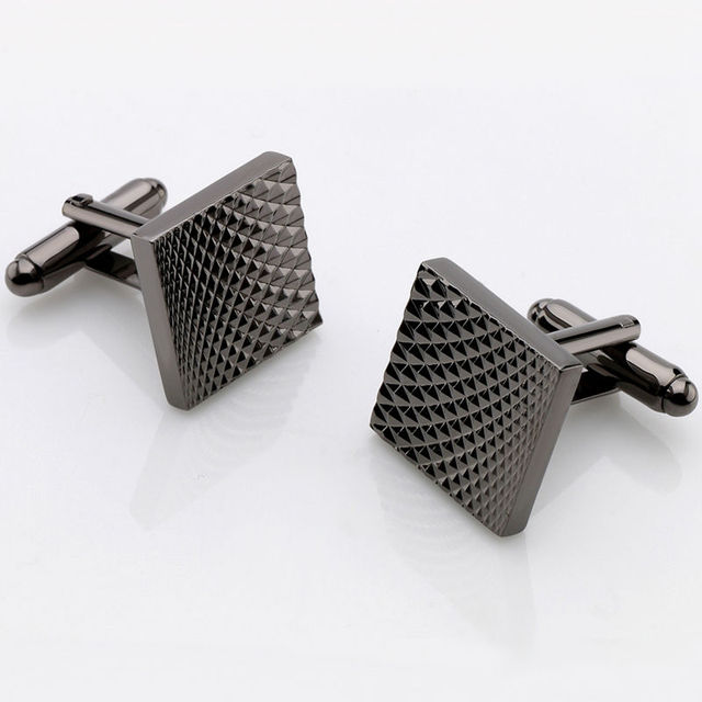 Hot Selling Business Square Black Cufflinks For Mens Lepton Brand Jewelry  High Quality Classic Carve Cuff