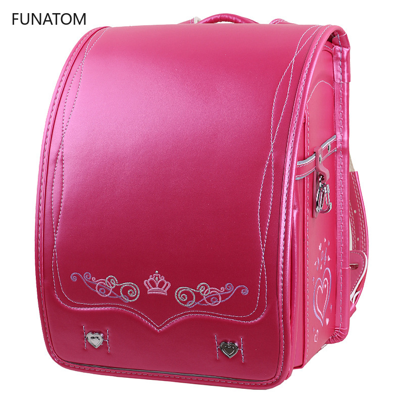 Funatom Orthopedic School Bag Children Backpack For Boy And Girl For Kid PU Hasp Japan Randoseru Kid Bag Love Necklace 2019 New