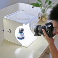 2 LED Panels Mini Folding Studio 8 Diffuse Soft Box Lightbox With Black White Photography Background