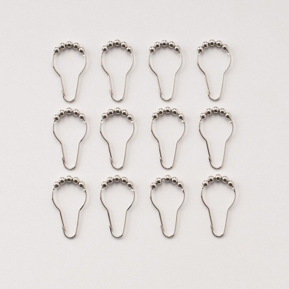 12pcs/set Stainless Steel Shower Curtain Rings Hooks Hook Bathroom Poles Rod