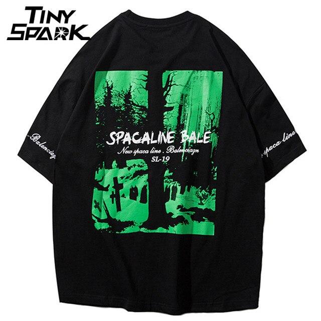 Snow Tree Printed T Shirt Men Hip Hop Loose T-Shirt Half Sleeve Cotton Tops Tees Casual Streetwear Tshirt Green New 2018 Summer