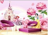 Personalizzato murales 3d, principessa del castello da sogno, divano del soggiorno tv da parete per bambini camera da letto wall paper