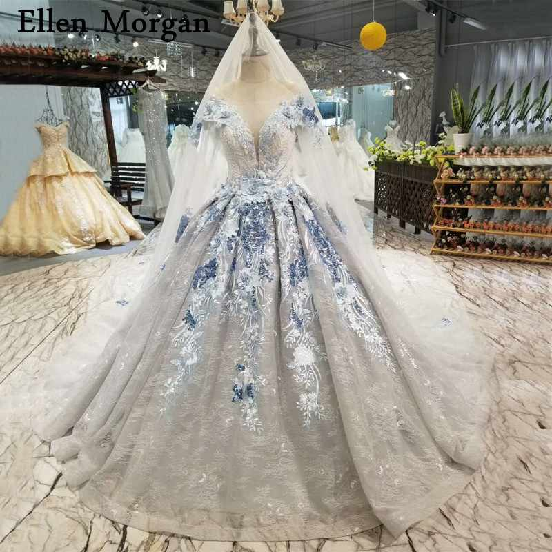 Silver Lace Ball Gowns Wedding Dresses 2019 Custom Made Real